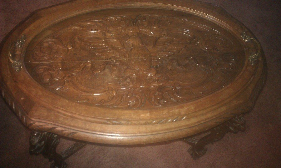 Antique Eagle Carved In The Top Lion Heads On The Top Of