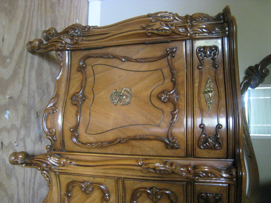 French Provincial Dresser Over 7 Feet With Wall Mirror