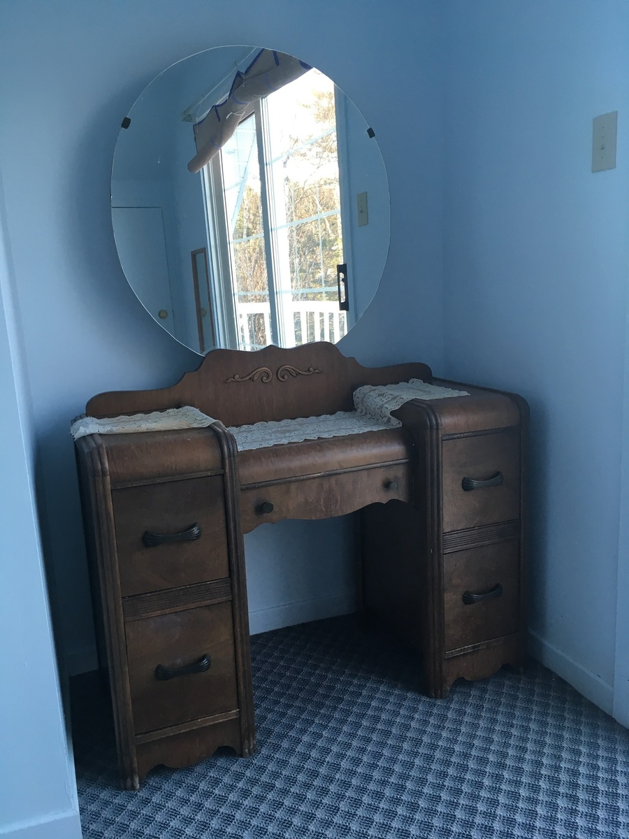 Vintage Vanity And Drawer With Round Mirror My Antique