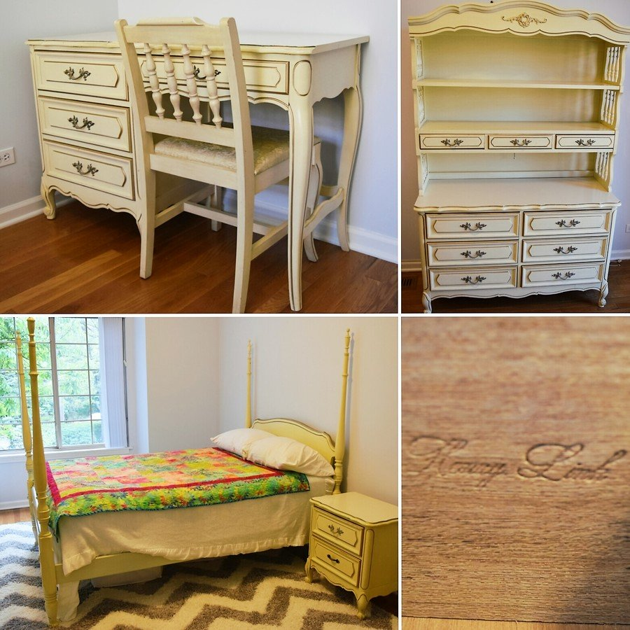 Good 6 Piece Henry Link French Provincial Bedroom Set, Ivory W/ Gold Trim.  Looking To Sell.