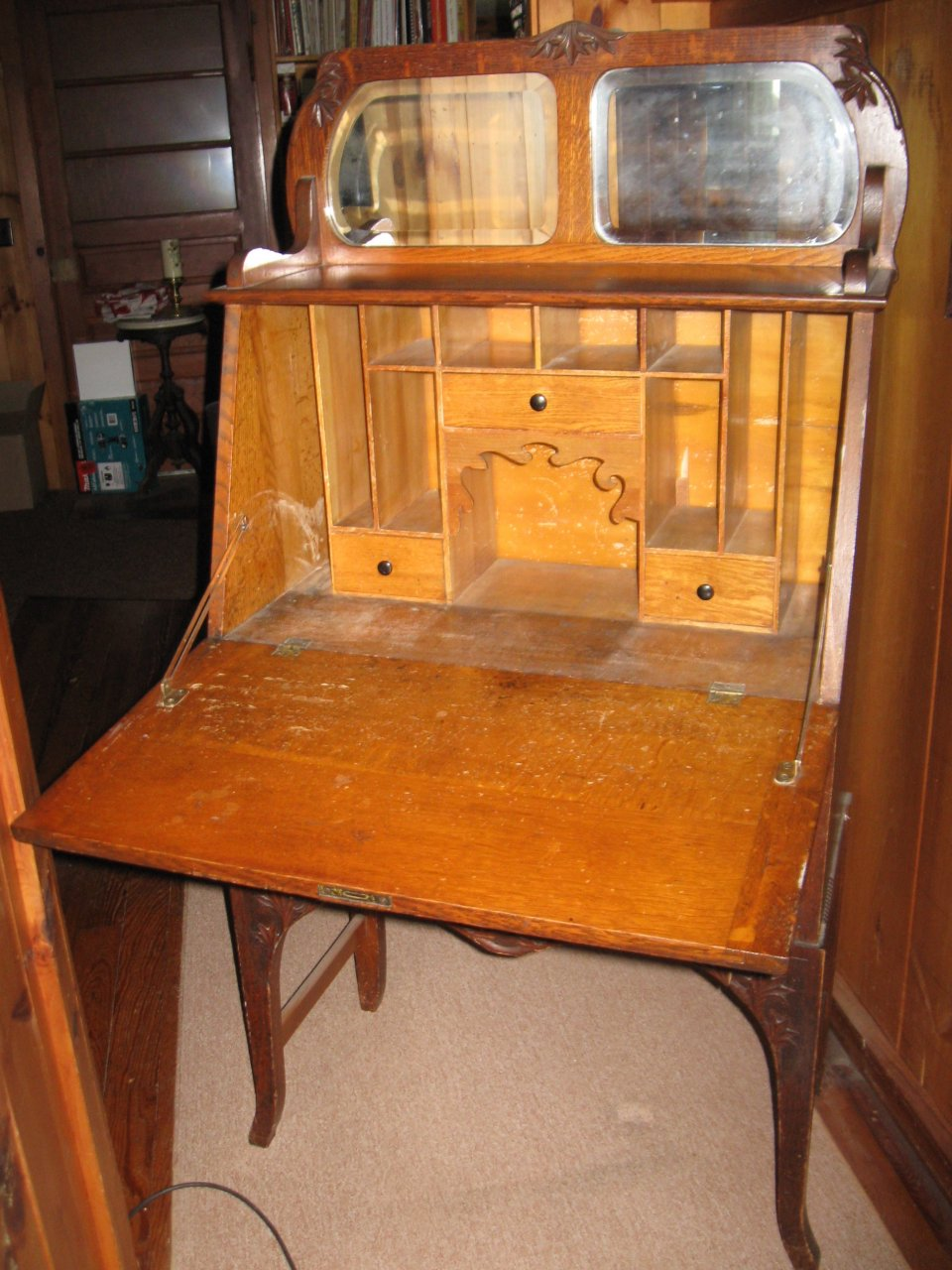Fold Down Antique Secretary With Mirror At The Top 2
