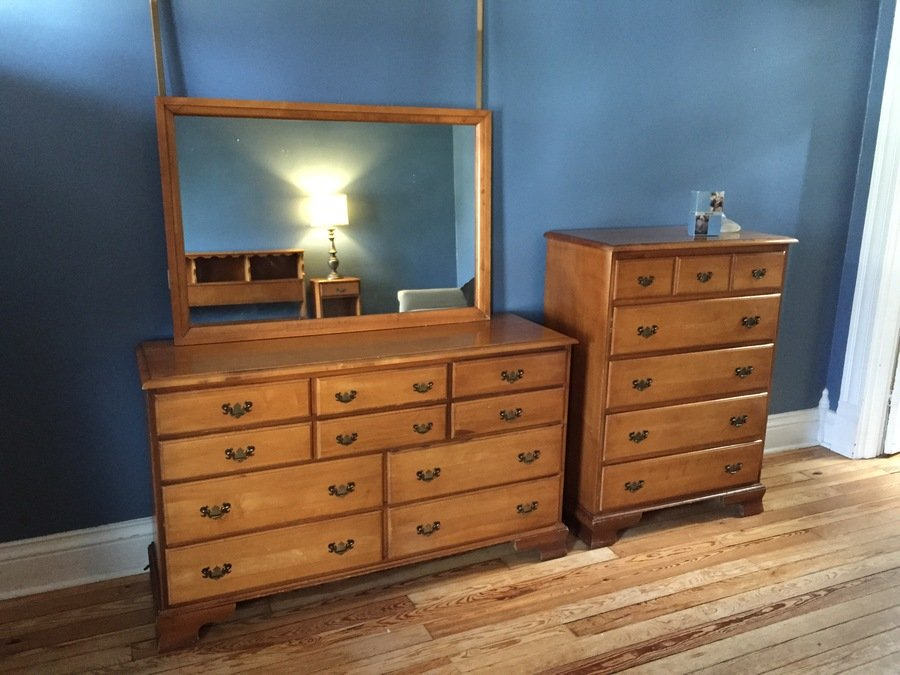 Hard Rock Maple Bedroom Suite C. 1960 | My Antique Furniture Collection