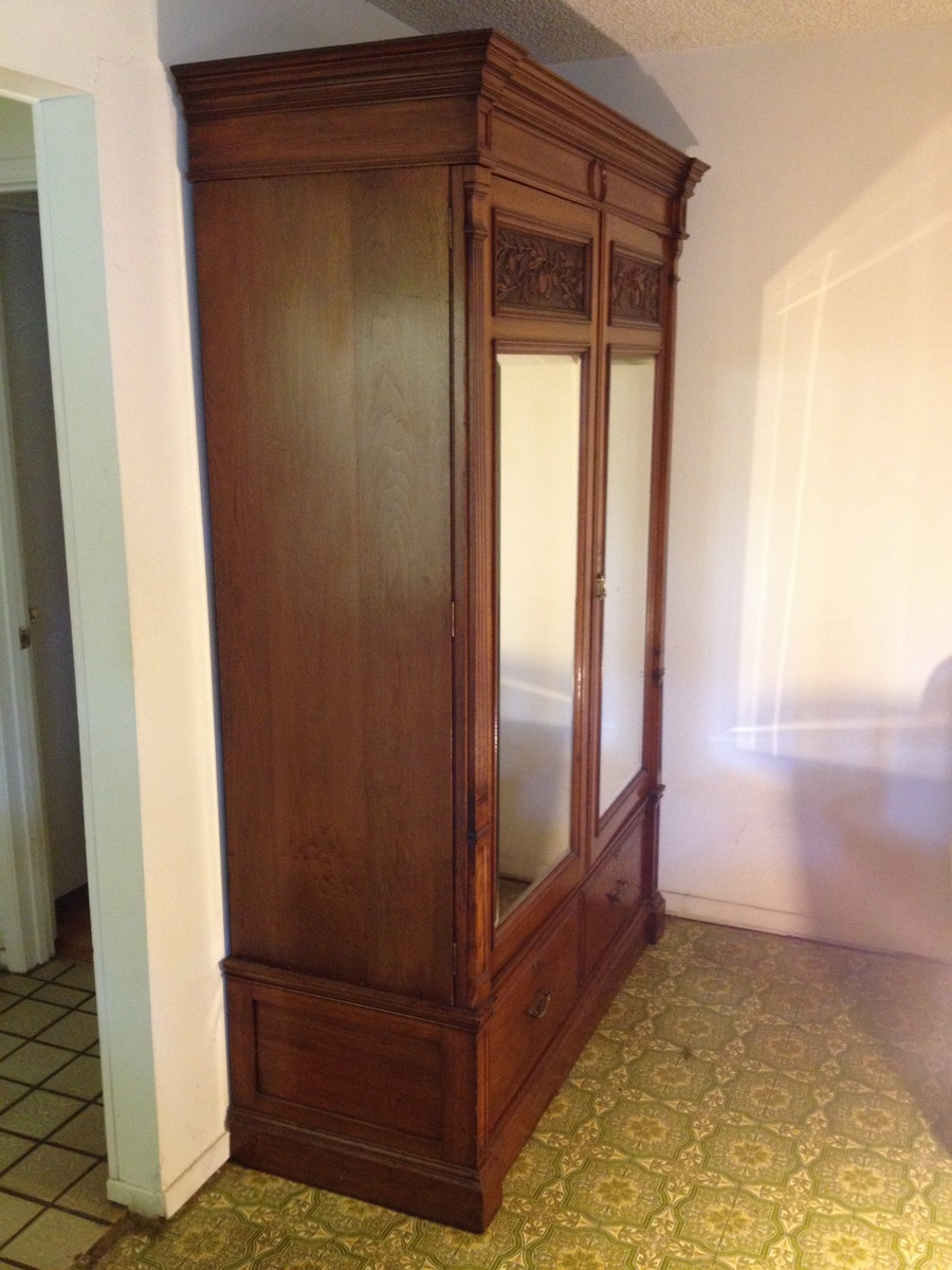 Need Opinion Of Value**Antique Armoire Beautifull Y Carved Fruit, Beveled  Mirror Drs, 3 Sections.Thx!