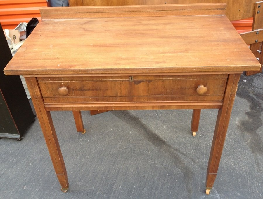 Plain Desk With Wood Inlay On Wooden Casters My Antique