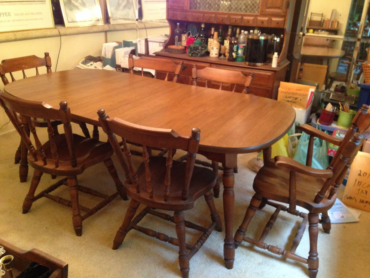 Plymouth Side Chairs And 2 Arm In Vintage Finish Any Idea Of The Value It Is A Beautiful Set That Was Most Likely Purchased 1960s