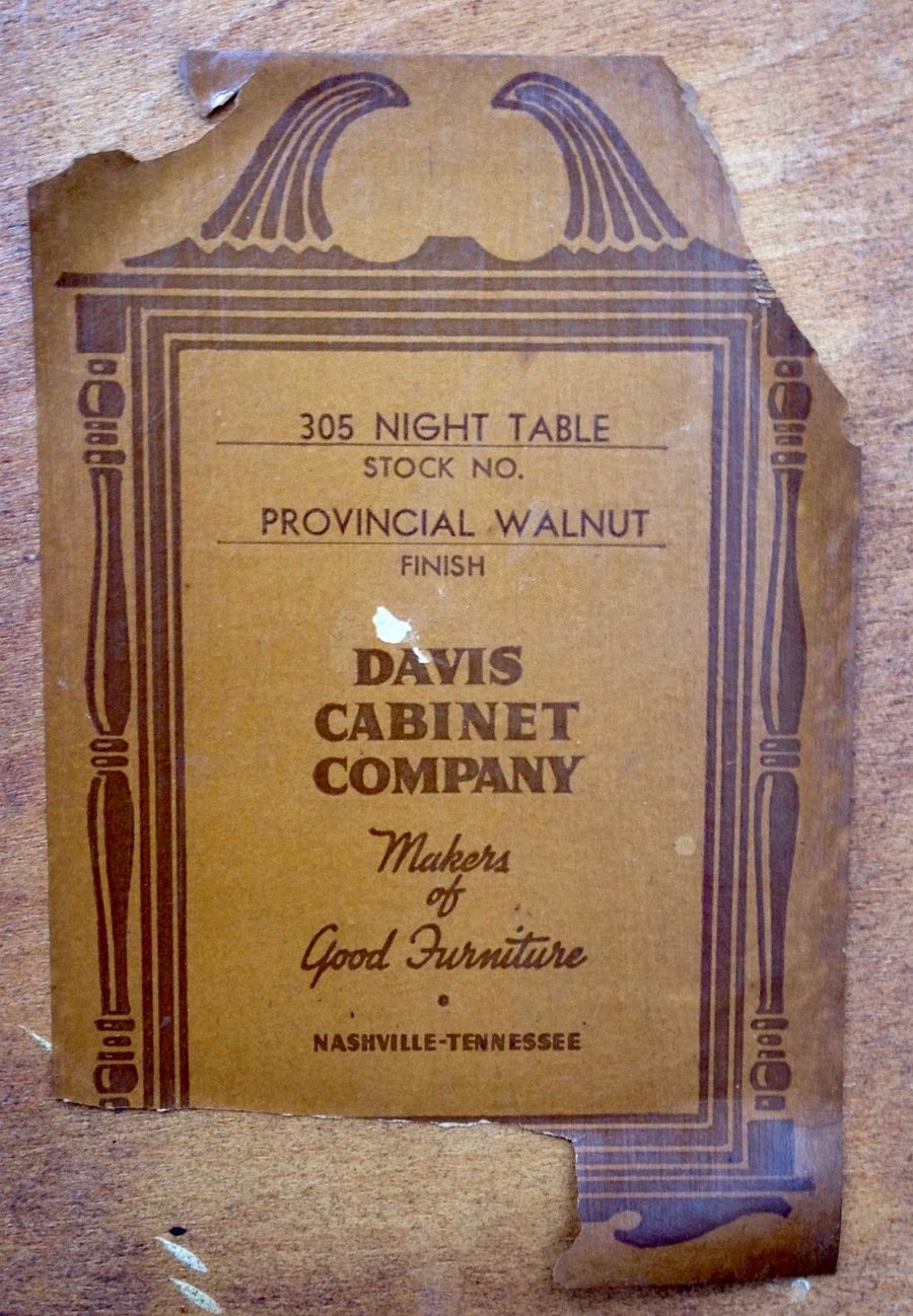 Davis Cabinet Company 305 Night Table My Antique