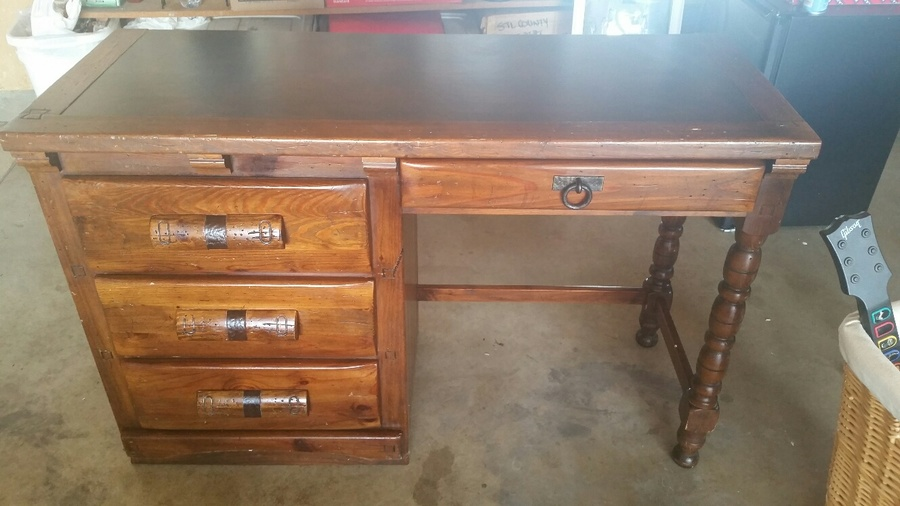 ... Wagon Wheel Trundle Bed, Desk, Desk Chair, Mirror With Pegs, Long  Dresser, And Trunk (toy Chest)? Any Idea What The Bedroom Set Is Worth Or  Where I ...
