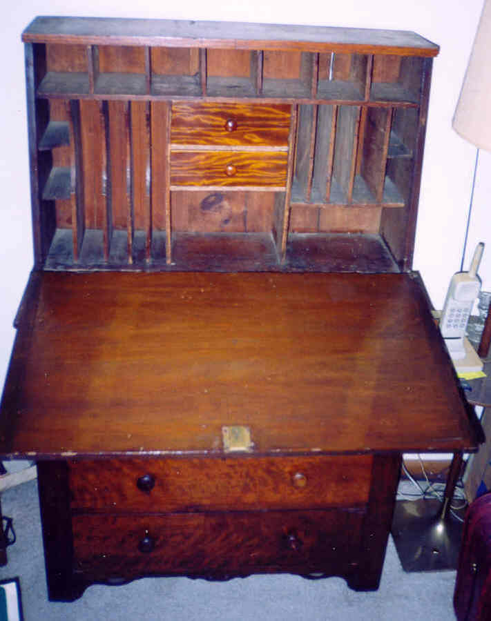 1850 S Drop Front Secretary Desk With Bureau Drawers