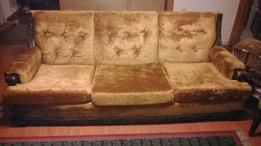 Kroehler Citation Gold Velvet Sofa W/Wood Detail Value? I Had This  Appraise... Guest 3 Years Ago