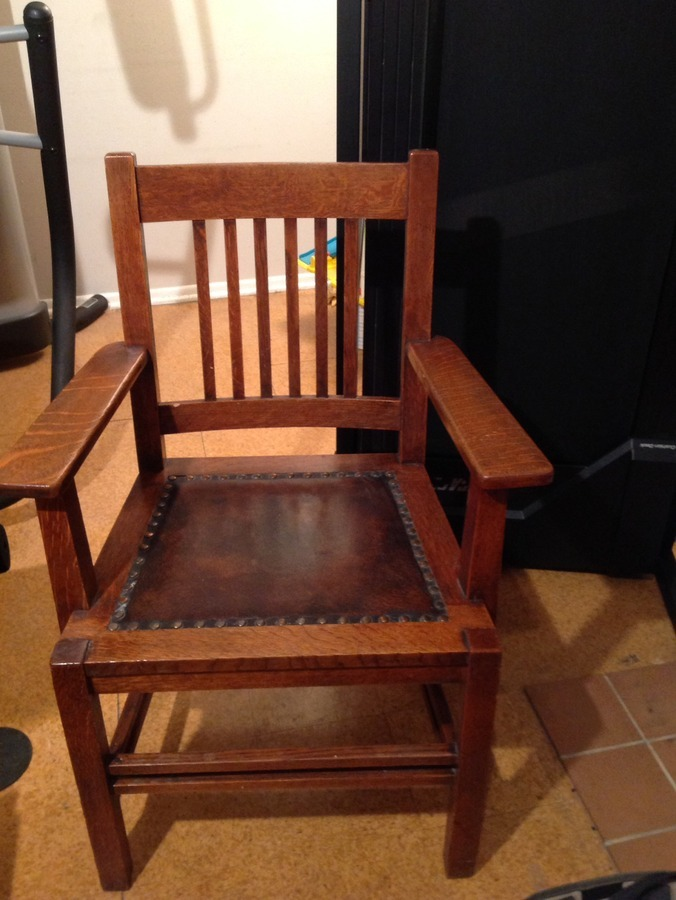 We Have 4 Stickley Chairs With Arms They Are Circa 1902 Mission Oak Brass My Antique