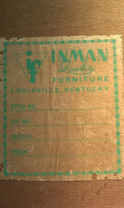 According To The Sticker On The Back It Was Made By Inman Quality Furniture  In Louisville, Kentucky.