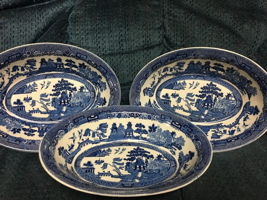 These are done in the same royal blue that is used on the front of the plates. Any details about this china set? & Johnson Brothers Friendly Village China | My Antique Furniture ...