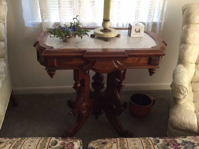 Marble Top Parlor Table And Slag Glass Lamp My Antique