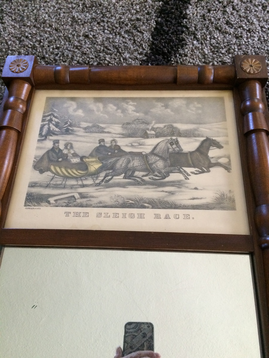 Maple Framed Mirror With Currier And Ives Print My