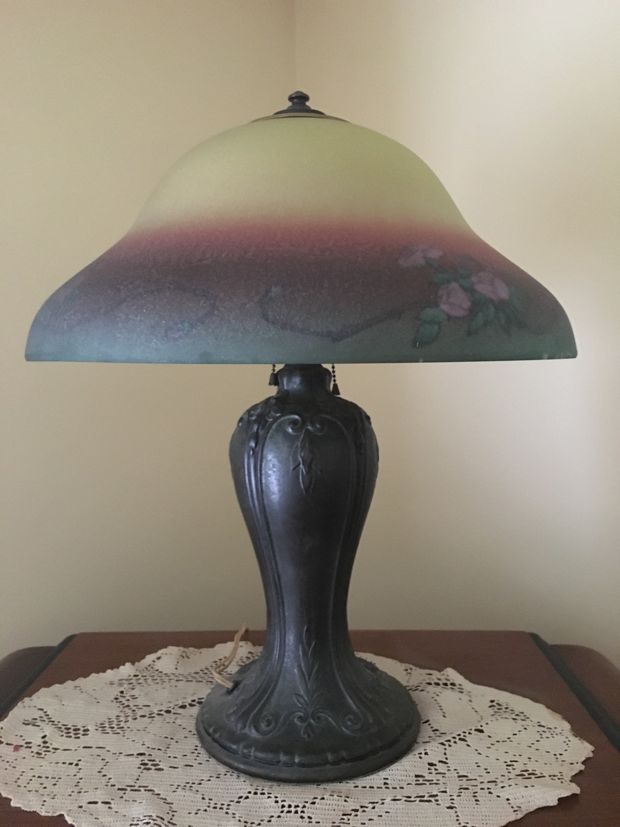 I Have An Old Lamp Which I Know Nothing About. There Are No Maker Marks On  Either The Shade Or Lamp. I Can Only Guess 1930u0027s.