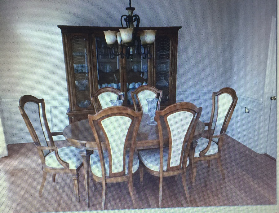 Urban Table Set With China Cabinet Antique Furniture By