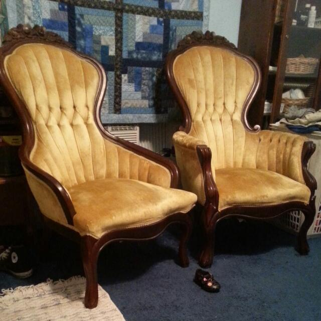 How Much Would These Be Worth? Ladies And Gents Parlor Chair Set. Victorian...  Guest 2 Years Ago