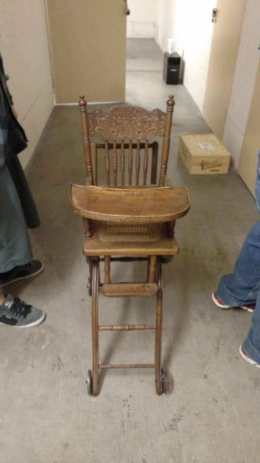 Antique Wooden Highchair Stroller Combo Pressed Back My