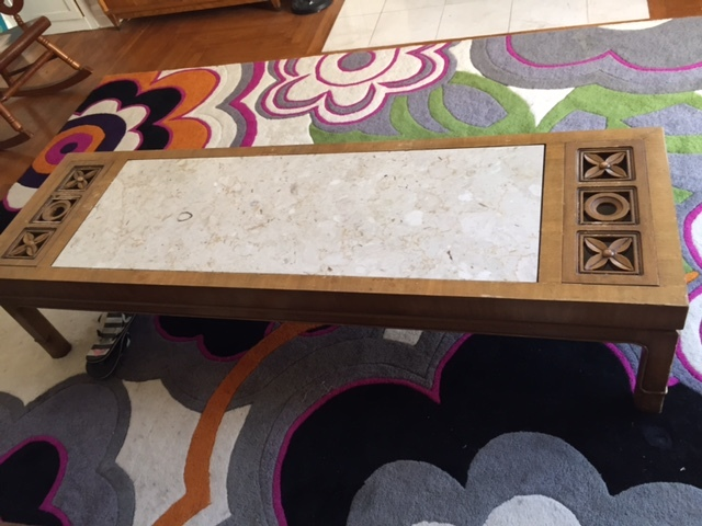 Weiman Walnut And Marble Coffee Table With Flower Lift Off