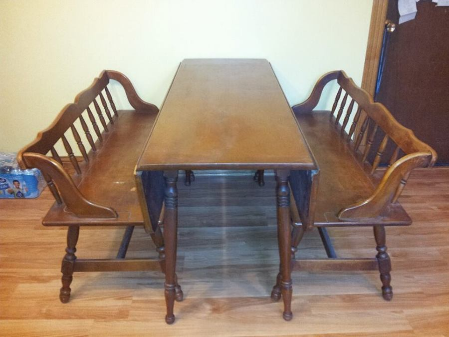 Tell City Drop Leaf Dining Table W Benches