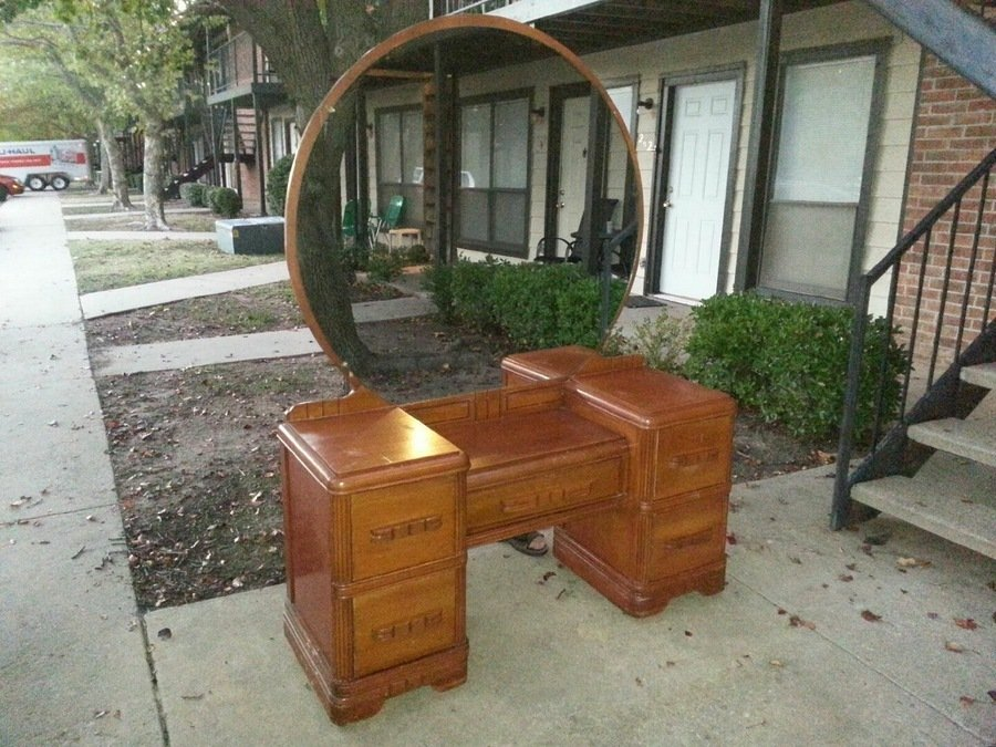 vintage vanity with round mirror. Vanity 875 w large mirror and matching 5 drawer tall dresser  My Antique Furniture Collection