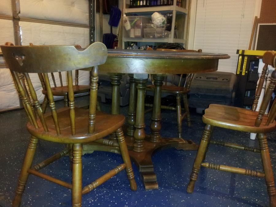 I Have A Set Of Four Tell City Maple Chairs Along With A Pedestal Table.  Th.. Part 46