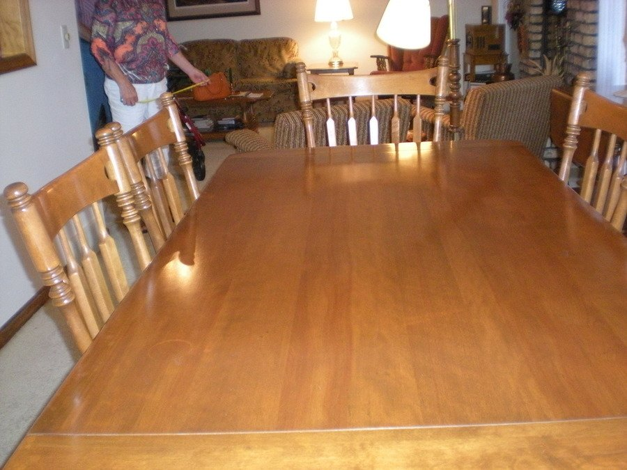 Ethan Allen Hard Maple Dining Table, Six Chairs-40 Years