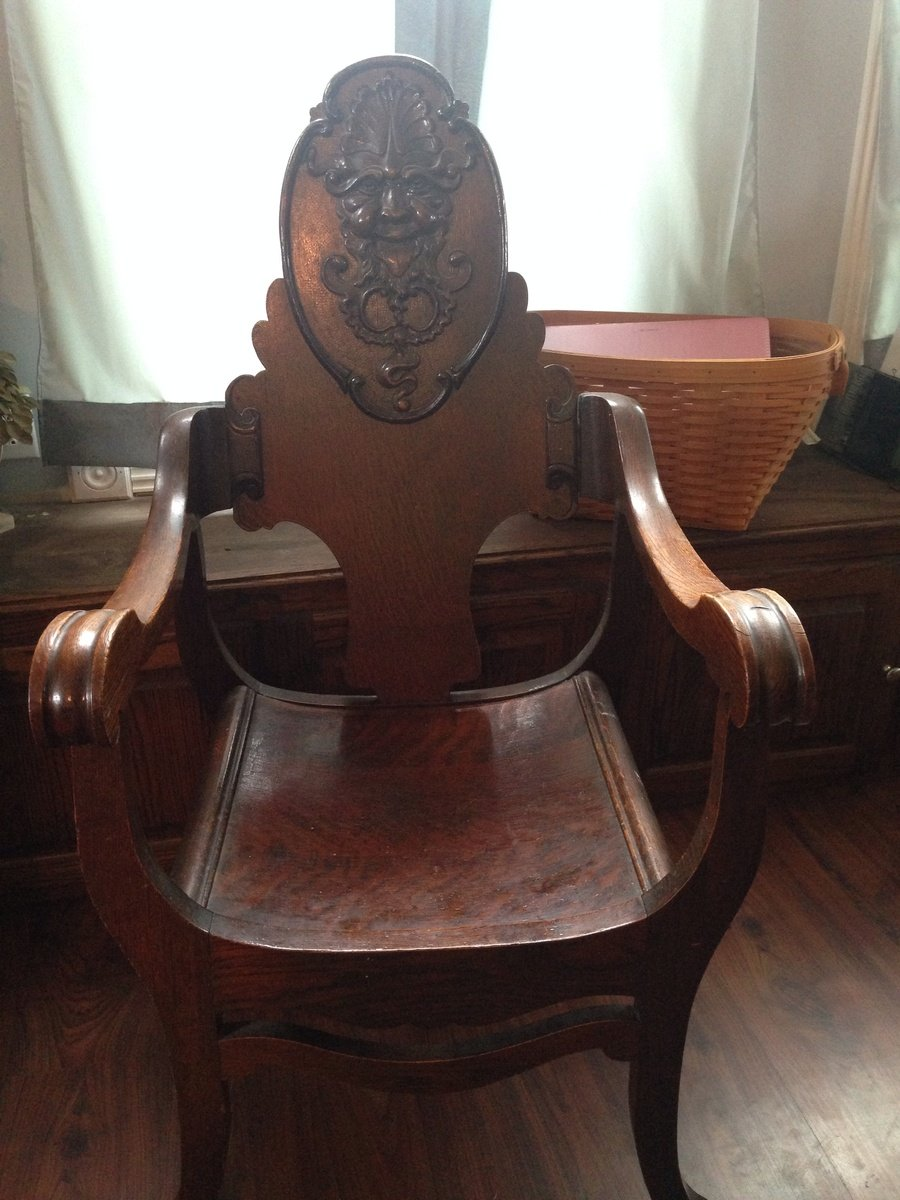 Antique Wooden Chair With Carved Face My Antique