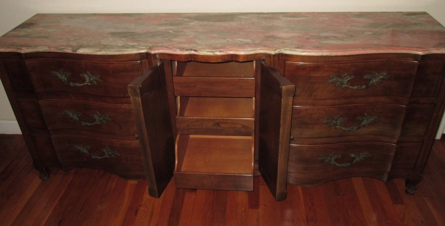 John Widdicomb Dresser With Rose Marble Top 9 Drawer
