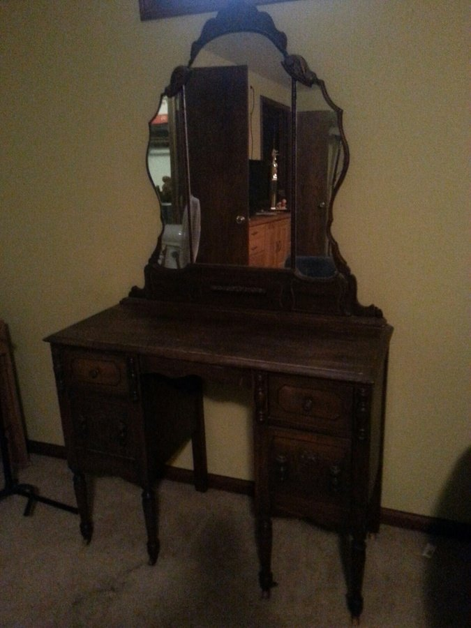 large mirror antique walnut vanity my antique furniture collection
