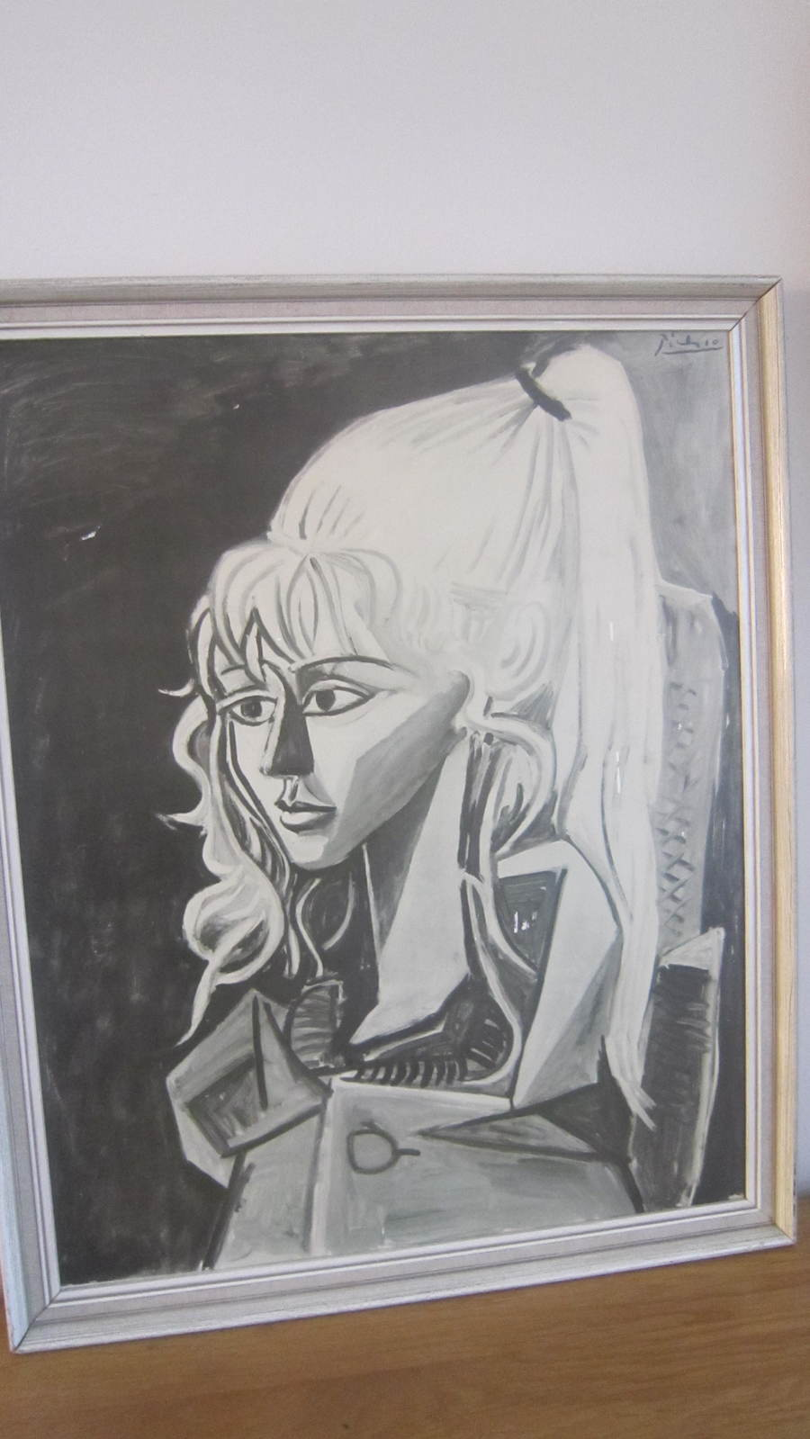 Picasso girl with a ponytail old black and white print