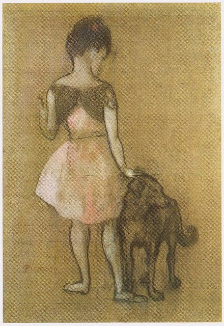 Little Girl And Dog, 1905 (pastel And Gouache On Paper ...