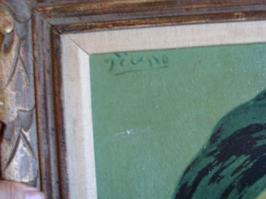 When I Got It Home, I Looked At The Signature, And Thought It Could Be A  Picasso. Long Shot Of Course, But I See He Painted This Same Lady In The  1920u0027s.